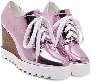 QIYUN.Z Women Fashion Patent Leather Mixed Color Wedges Lace Platform Shoes