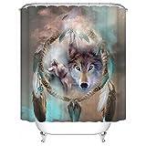 ammybeddings Impermeable Cortina de Ducha con 12Ganchos de PVC, 72x 72cm, Chic Magic Lobo impresión Cortina de baño Decor