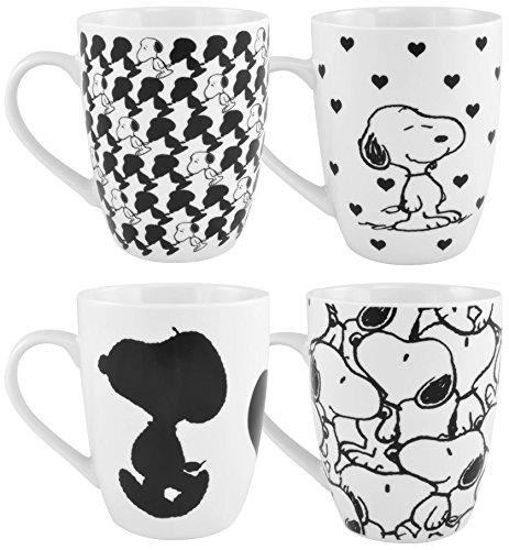 PEANUTS Peanuts-4er Tassen Snoopy-0121750 Kaffeetassen, 4er Set, Porzellan, weiß, 12 x 8.5 x 9.5 cm