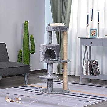 Pawhut Arbre à Chats Multi-équipements griffoirs grattoirs Plateformes Niche Jeu Boule Suspendue Ø 48 x 104H cm Gris