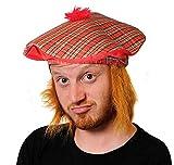 Accessoire de déguisement écossais St André – Chapeau tartan écossais unisexe avec cheveux roux – Accessoire de déguisement Tam O'Shanter Burns Night HatScotland Chapeau écossais avec cheveux