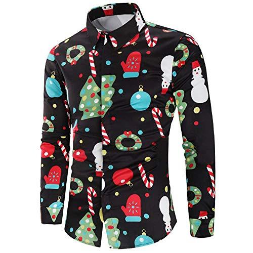 Hombre Casual Copos De Botón Manga Casual Nieve Modernas De Larga Camisa De Impresión De La Camisa Caramelo De Santa Impreso De Navidad Blusa Superior De Los Hombre Al Final De Las Vacaciones De