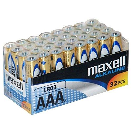 Maxell LR03 - Batterie alcaline ministilo AAA, pacco scorta da 32