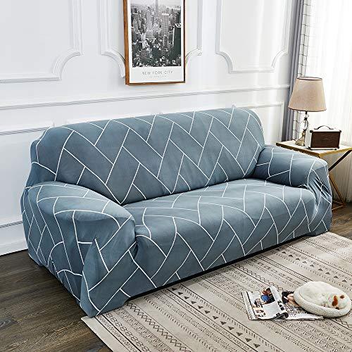 Souarts Sofabezug elastische Stretch Sofaüberwurf Sofa Couch Sessel Husse Bezug Decke Sofabezüge 1/2/3/4 Sitzer (3 Sitzer, Grau Linien)
