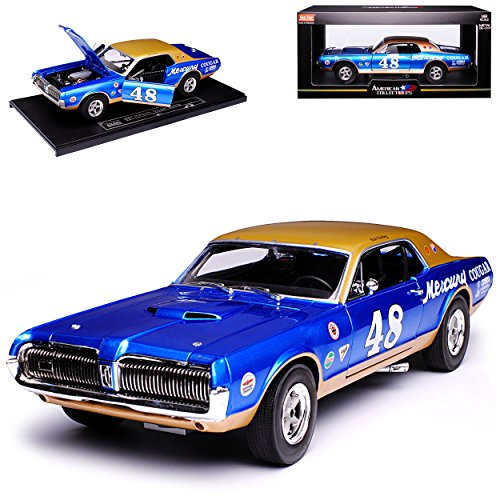 Sun Star Ford Mercury Cougar Coupe Blau Racing 1. Generation 1966-1973 1/18 Modell Auto