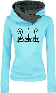 comprar comparacion ZODOF Sudadera con Capucha para Mujer Moda Manga Larga Impresión de Gato Camiseta Tops Abrigos Pullover Hoodies Uniforme U...