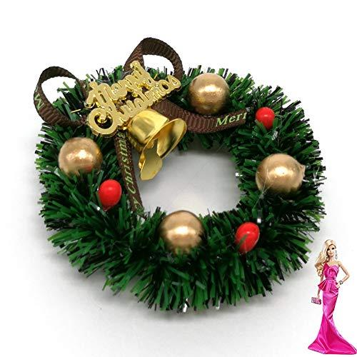 Rocita 6 cm Mini Weihnachtskranz Miniatur Kranz Puppenhaus Garten Dekoration Puppenstube Weihnachten Ornamente
