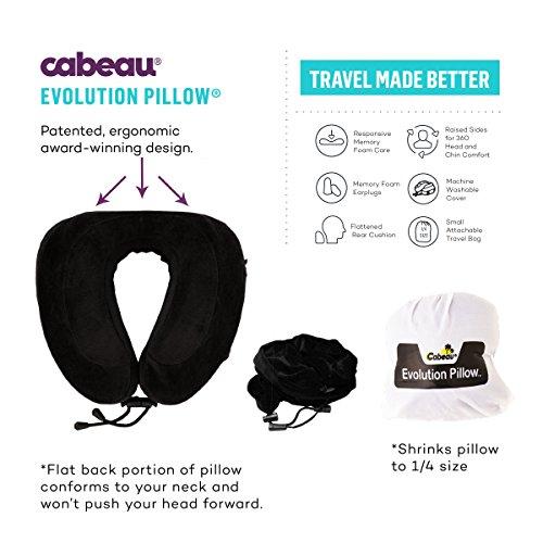Cabeau Evolution Pillow - Cuscino da viaggio in schiuma a memoria di forma, in set comprensivo di piccola custodia, supporti laterali rialzati, imbottitura posteriore piatta per il collo, fodera lavabile, tasca per dispositivi multimediali e molto altro ancora Pink