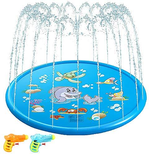 Yosemy Splash Pad, Anti-Rutsch Spielzeug Sprinkler Play Matte Wasserspielzeug Garten Wasserspielmatte 170cm Splash Pad Sprinkler Kinder Play Matte Spielmatte Sommer Outdoor Spielzeug (Blau)