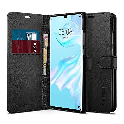 Spigen Wallet S Compatibel met Huawei P30 Pro hoesje, lederen tas Geïntegreerde stand-up functie en portemonnee Kaartvak Gsm-tas Beschermhoes cover Huawei P30 Pro case Zwart