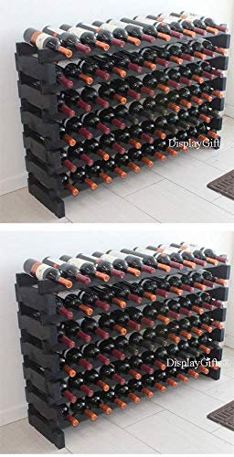 Stackable Modular Wine Rack Stackable Storage Stand Display Shelves, Wobble-Free, Pine wood, (Natural, 12 X 6 Rows (72 Slots))