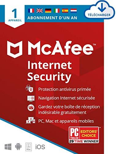 McAfee Internet Security 2021 | 1 Appareil |1 An | Logiciel Antivirus, Sécurité Internet, Gestionnaire de Mots de Passe, Sécurité Mobile | PC/Mac/Android/iOS | Édition Européenne | Téléchargement
