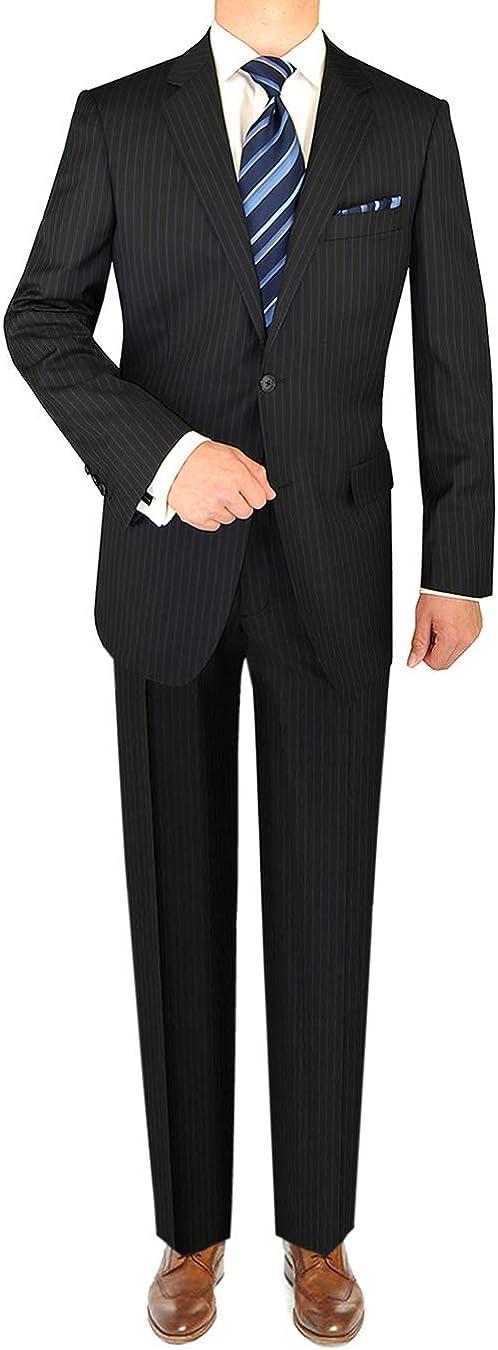 LN LUCIANO NATAZZI Italian Men's Suit 160'S Cashmere Wool 2 Button Stripe