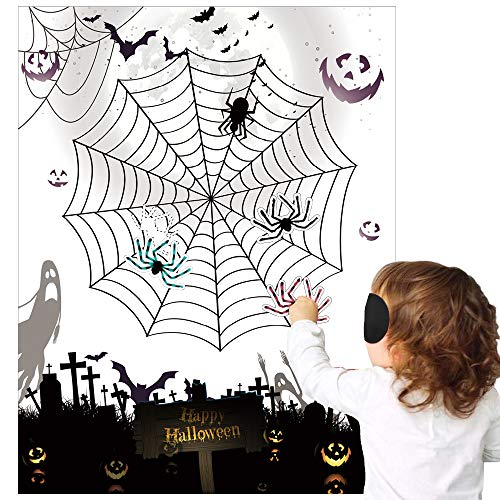 KnF Supplies Pin the Spider on the Web Halloween Kids Party Game
