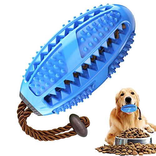 Hund Zahnbürsten Stick Ball für Hunde Welpen Zahnpflege,Blau Naturkautschuck Hundespielzeug Hundeball Zahnreinigungsspielzeug Kauspielzeug Leckerli Spender zum Kauen Befüllen Futter Hundebeschäftigung