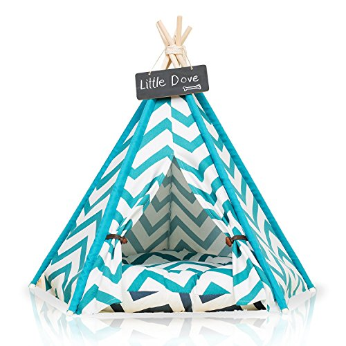 little dove Pet Teepee Dog(Puppy) & Cat Bed - Portable Pet Tents & Houses for Dog(Puppy) & Cat Blue Strip Style 28 Inch with Cushion