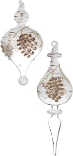 Sullivans Pinecone Birch Glittered Glass Hanging Christmas Finial Ornaments Assorted Set of 2