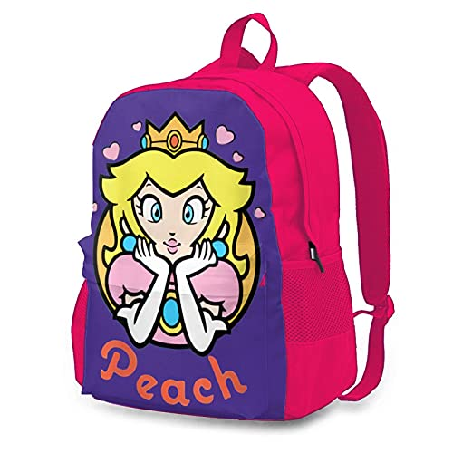 Peach Princess Game 16 Inch Full Width Single Side Print Backpack With Laptop Sleeve (Pink /Side Pockets)