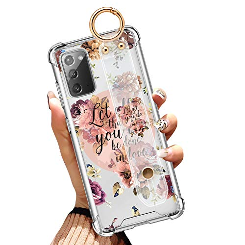 Samsung Galaxy Note 20 5G Clear Case 6.7 Inch Anti-Yellow Slim Airbag Full Protective Cover with Design Christian Quotes Bible Verse Flower Floral Shell with Wrist Strap Lanyard
