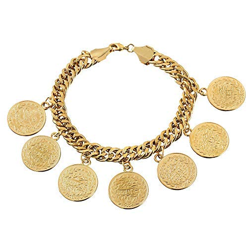 CBTB Coin Charm Bracelet 18K Gold Turkish Muslim Islam Bangle Wedding Gifts for Women and Men …