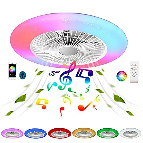 Lampara Techo con Ventilador y Mando a Distancia Infantil Efecto Cielo Estrellado Ventilador Inspire Colores Air Silencioso Plafon Ventilador Techo con Luz Bluetooth Altavoz Regulable Cuarto