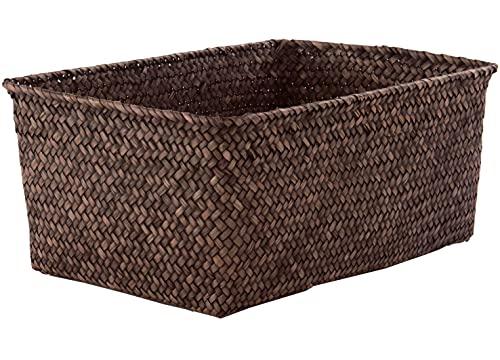 Compactor Kito - Cesta de junco trenzado, 30 x 20 x (altura) 13 cm, color marrón ahumado
