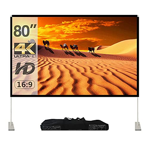Projector Screen with Stand,100 inch 16:9 HD Projection Screen Indoor Outdoor Portable Front Rear Polyester Fabric Projection Screen Projector Movies Screen for Home Theater