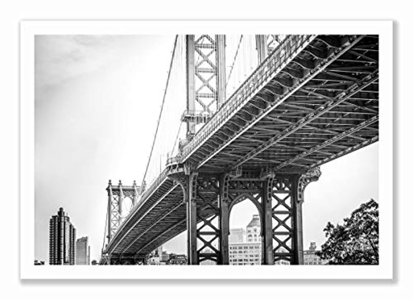 Brooklyn Bridge Natural Solid Oak Frame with Mount, Multicolored, 40x60