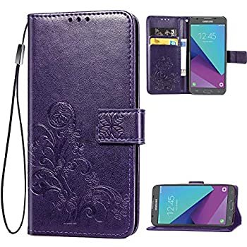 Galaxy J7 2017,J7 Prime,J7 V,j7 Perx,J7 Sky Pro Wallet Case [Flower Embossed] Premium PU Leather Wallet Flip Protective Phone Case Cover with Card Slots and Stand for Samsung Galaxy J7 2017  Purple