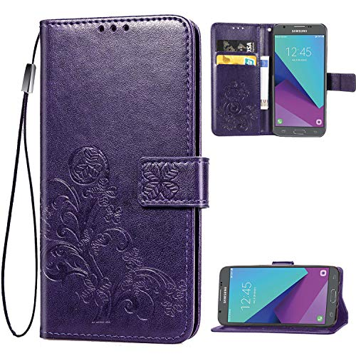 Galaxy J7 2017,J7 Prime,J7 V,j7 Perx,J7 Sky Pro Wallet Case, [Flower Embossed] Premium PU Leather Wallet Flip Protective Phone Case Cover with Card Slots and Stand for Samsung Galaxy J7 2017 (Purple)