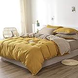 Damier Ropa de cama 135 x 200 Amarillo Beige Ropa de cama reversible 2 piezas suave microfibra cama individual funda nórdica con cremallera y 1 funda de almohada 80 x 80 cm