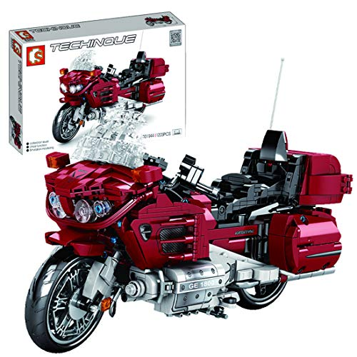 HEDI Juego de construcción para motocicleta, 451 bloques de fijación Gold Wing 1800, compatible con Lego