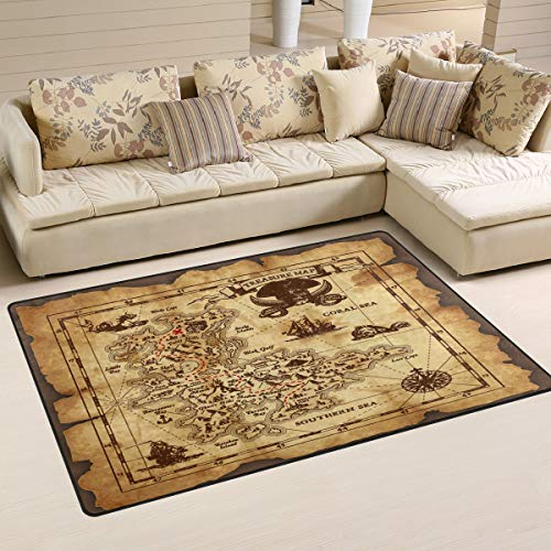 Vintage Pirate Treasure Nautical Map Area Rugs 5' x 3' Door Mats Indoor Polyester Non Slip Multi Rectangle Carpet Kitchen Floor Runner Decoration for Home Bedroom Living Dining Room