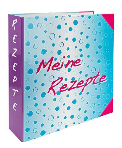 Rezeptordner, Ringordner 7 cm breit aus stabilem Karton, inklusive 6 teiligem Register/Trennblätter mit 24 Rezeptblättern zum Beschriften.