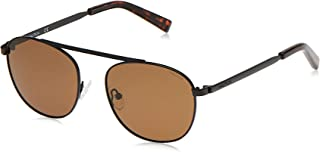نظارة شمسية للرجال باطار مستطيل مع شعار مطبوع بالليزر من نوتيكا، لون اسود غير لامع