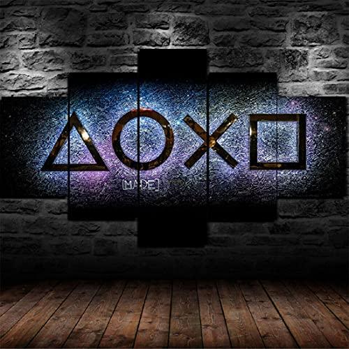 runtooer Bilder Dekorative malerei Spray malerei leinwand malerei 5 stück Playstation Console Gaming Arena Leinwand Wandbild, Möbel Art Deco, Rahmen