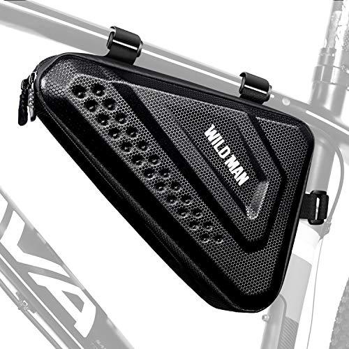 ENONEO Bolsa Triangular de Bicicleta Impermeable 3L Gran Capacidad Bolsa Bicicleta Montaña Con Cremallera Doble y Tira Reflectante Bolsa de Almacenamiento para Cuadro de Bicicleta, MTB Bicicleta Negro