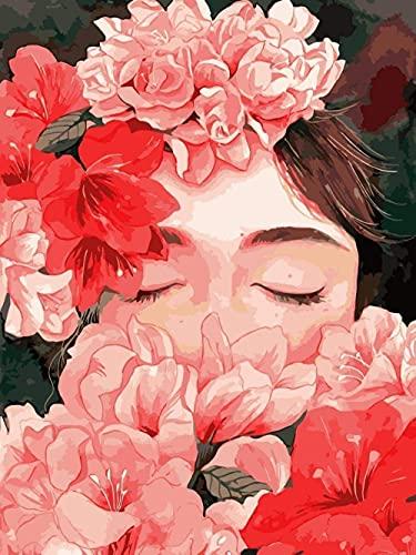 Pintura por números Kit de pintura de bricolaje para adultos y niños Lienzo de lino preimpreso Decoración para el hogar Sala de estar Dormitorio Pintura al óleo sin marco Flores de cuento de hadas