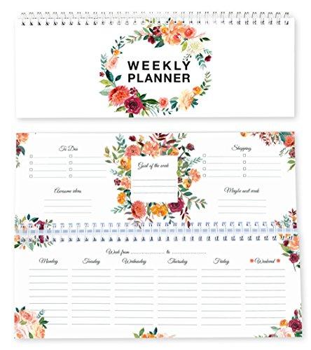 Calendario de escritorio/calendario semanal/calendario para todos losdías/planificador semanal/Weekly Planner/calendario para profesores/sin fecha fija/organizador personal 2018 /floral