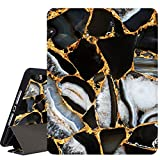 RicHyun iPad 8th & 7th Generation 10.2 inch Case with Pencil Holder, Smart Trifold Stand Shockproof Soft TPU Back Cover with Auto Sleep/Wake for iPad 7th Gen 2019 & iPad 8th Gen 2020, Black Marble