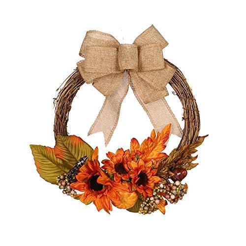 boastvi Hängend Kranz Girlande Herbst Künstlich Kürbis Ahornblatt Girlande Halloween das Erntedankfest Haustür Dekoration Kranz
