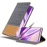 Cadorabo Hülle für Samsung Galaxy A90 5G in HELL GRAU BRAUN - Handyhülle mit Magnetverschluss, Standfunktion & Kartenfach - Hülle Cover Schutzhülle Etui Tasche Book Klapp Style