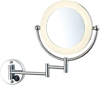Lighted Makeup Mirror,LED Vanity Mirror 360 Degree Rotation Glare-Free Two-Sided Swivel Wall Mount Mirror,8.5inch,5X