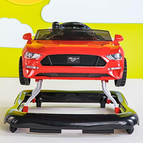 Bright Starts 3 Ways to Play Walker - Ford Mustang, Ages 6 Months +, Red