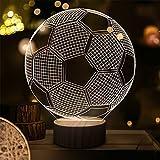 3D Lampe Illusion Fußball Fußball Nachtlicht für Kinder Jungen Mädchen Geschenke, warmweiße LED Holz Sockellampe