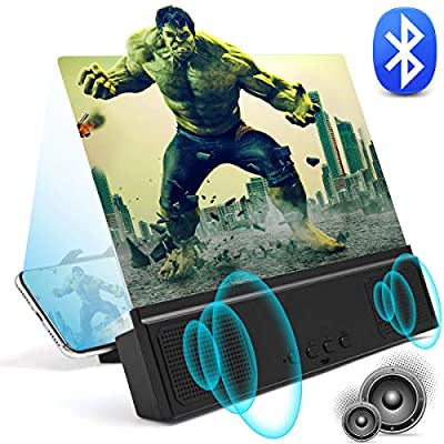 """3D Phone Screen Magnifier with Bluetooth Speakers 12"""" Anti-Blue Light Cell Phone Projector Amplifier with Foldable Holder Stand HD Movies Mobile Phone Screen Enlarger for All Smart Phone Model from JLIVY"""