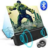 3D Phone Screen Magnifier with Bluetooth Speakers 12' Anti-Blue Light Cell Phone Projector Amplifier with Foldable Holder Stand HD Movies Mobile Phone Screen Enlarger for All Smart Phone Model