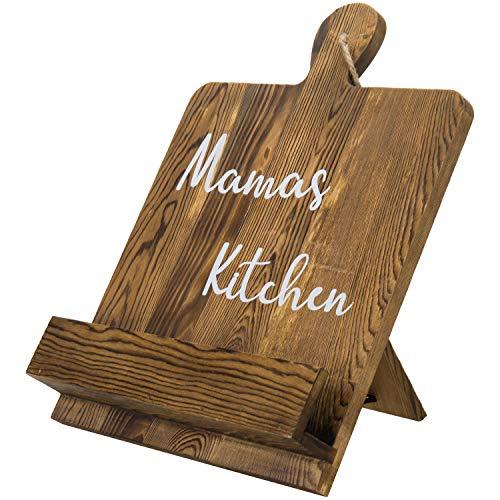 MyGift Rustic Dark Brown Burnt Wood Cookbook Recipe Holder Rack Stand with White Cursive