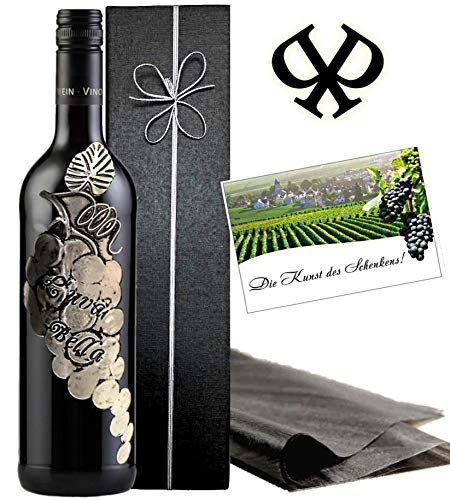 Italien Wein Geschenk L'uva Bella Rotwein Geschenkset Toskana Weinrebe in Silber Luxus Wein für Experten Alternative zu Chianti oder Barolo Brunello