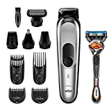 Braun 10-in-1-Trimmer MGK7220 Herren-Barttrimmer, Bodygrooming-Set und Haarschneider, grün/silber